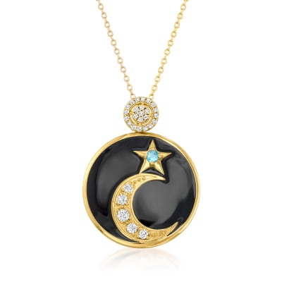 .70 ct. t.w. Swiss Blue and White Topaz Moon and Star Necklace with Black Enamel in 18kt Gold Over Sterling