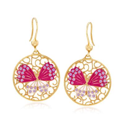 Italian Multicolored Enamel Butterfly Drop Earrings in 18kt Gold Over Sterling