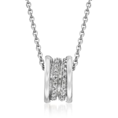 "C. 1980 Vintage Bulgari ""B.Zero1"" .50 ct. t.w. Diamond Pendant Necklace in 18kt White Gold"