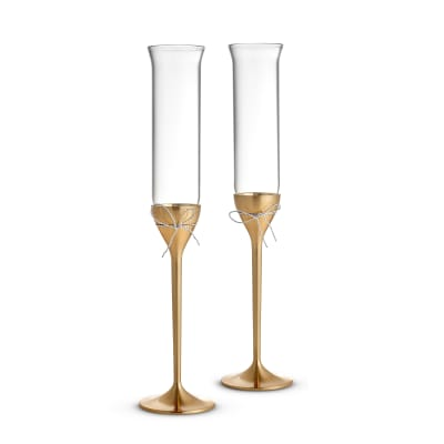 "Vera Wang for Wedgwood ""Love Knots"" Gold Toasting Flutes"