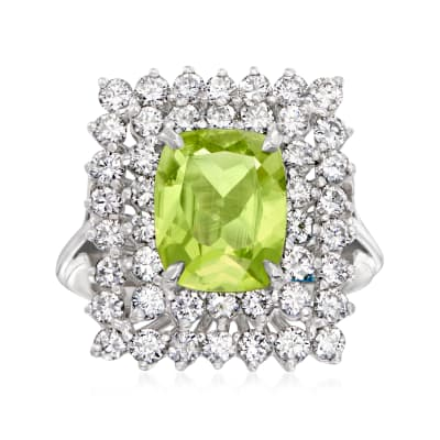 C. 1970 Vintage 2.35 Carat Peridot and 1.35 ct. t.w. Diamond Rectangular Ring in 14kt White Gold