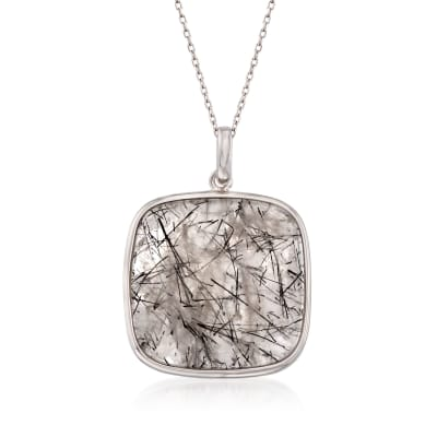40.00 Carat Tourmalinated Quartz Pendant Necklace in Sterling Silver
