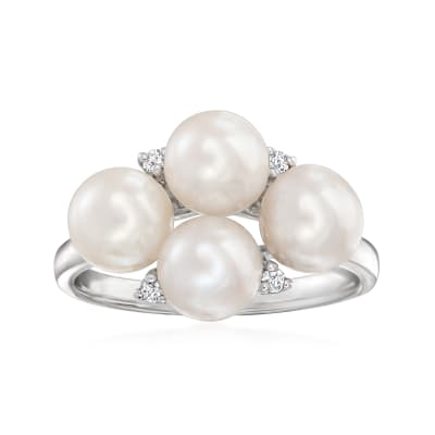 6-6.5mm Cultured Pearl Ring with Diamond Accents in Sterling Silver