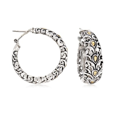 Sterling Silver and 18kt Yellow Gold Scrollwork Hoop Earrings