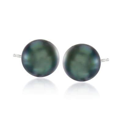 10-11mm Black Cultured Tahitian Pearl Earrings in 14kt White Gold