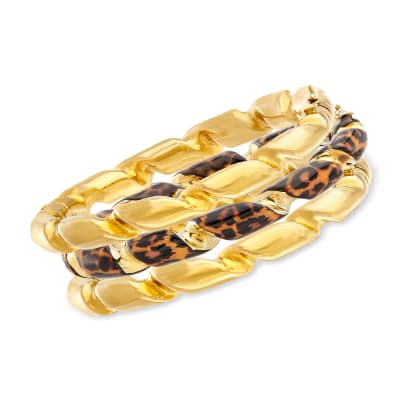Leopard-Print Enamel Jewelry Set: Three Bangle Bracelets in 18kt Gold Over Sterling Silver