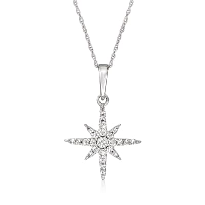 .25 ct. t.w. Diamond Star Pendant Necklace in 14kt White Gold