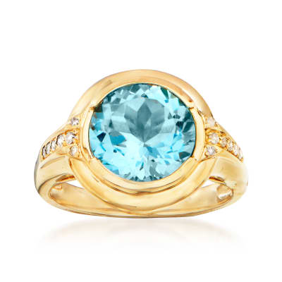 3.90 Carat Sky Blue Topaz Ring in 14kt Yellow Gold