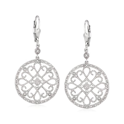 .20 ct. t.w. Diamond Circle Openwork Drop Earrings in Sterling Silver