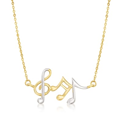 14kt Two-Tone Gold Musical Notes Necklace