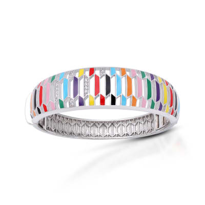 "Belle Etoile ""Trapezio"" Multicolored Enamel and .11 ct. t.w. CZ Bangle Bracelet in Sterling Silver"