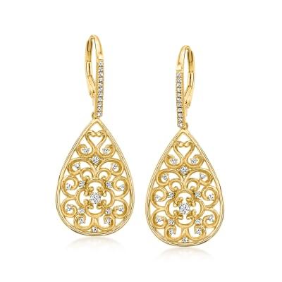 Charles Garnier .53 ct. t.w. CZ Filigree Teardrop Earrings in 18kt Gold Over Sterling