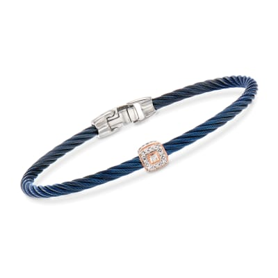 "ALOR ""Shades of Alor"" Blue Stainless Steel Cable Bracelet with Diamond Accents and 18kt Two-Tone Gold"