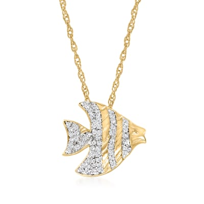 .25 ct. t.w. Diamond Fish Pendant Necklace in 18kt Gold Over Sterling