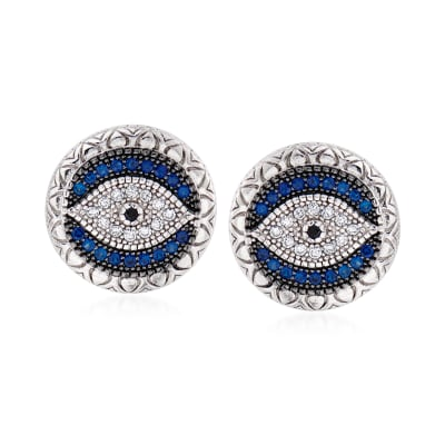 .28 ct. t.w. Simulated Sapphire and .14 ct. t.w. Black and White CZ Evil Eye Earrings in Sterling Silver