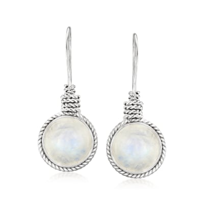 Moonstone Drop Earrings in Sterling Silver