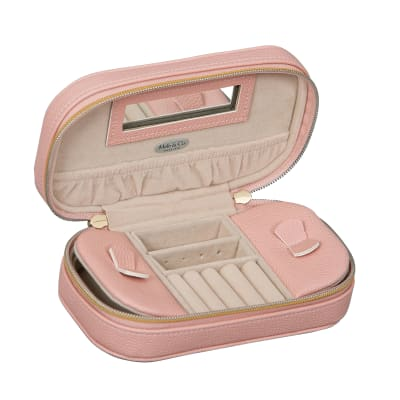 "Mele & Co. ""Lucy"" Pink Faux Leather Travel Jewelry Case"