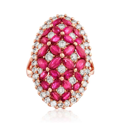 4.00 ct. t.w. Ruby and 1.78 ct. t.w. Diamond Oval Cocktail Ring in 14kt Rose Gold
