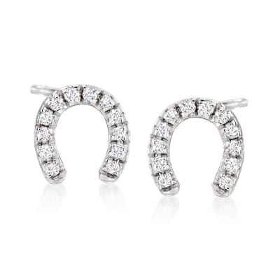 .10 ct. t.w. Diamond Horseshoe Stud Earrings in Sterling Silver