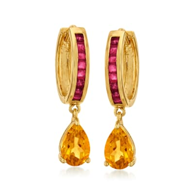 2.74 ct. t.w. Citrine and 1.12 ct. t.w. Ruby Hoop Drop Earrings in 18kt Gold Over Sterling