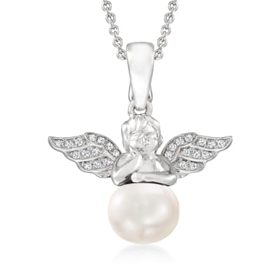 8.5-9mm Cultured Pearl and .10 ct. t.w. White Topaz Angel Pendant Necklace in Sterling Silver