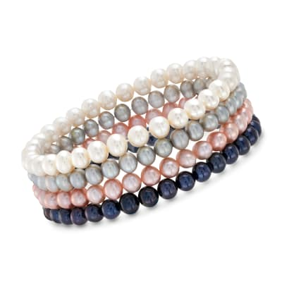 5-6mm Multicolored Cultured Pearl Jewelry Set: Four Stretch Bracelets