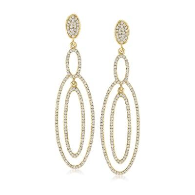 1.03 ct. t.w. Diamond Open-Oval Drop Earrings in 18kt Yellow Gold