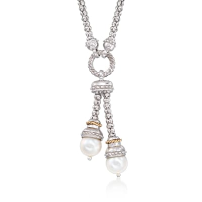 "Phillip Gavriel ""Popcorn"" 9-9.5mm Cultured Pearl Lariat Necklace in Sterling Silver and 14kt Gold"