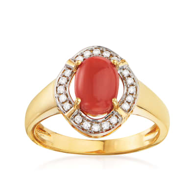 Coral and .12 ct. t.w. Diamond Ring in 14kt Yellow Gold