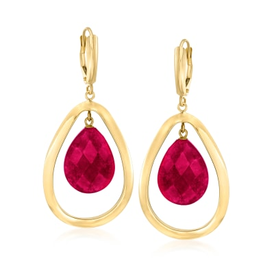 20.00 ct. t.w. Ruby Teardrop Earrings in 14kt Yellow Gold