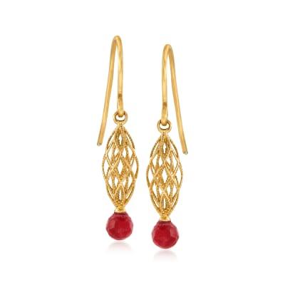 1.30 ct. t.w. Ruby Open-Space Drop Earrings in 14kt Yellow Gold