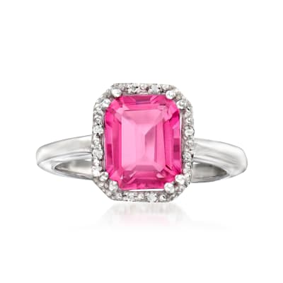 4.19 Carat Pink Topaz Ring with Diamond Accents in Sterling Silver
