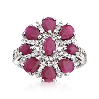 2.00 ct. t.w. Ruby and .30 ct. t.w. White Topaz Flower Ring in Sterling Silver