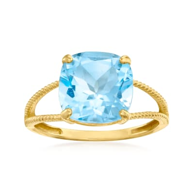 4.75 Carat Sky Blue Topaz Ring in 14kt Yellow Gold