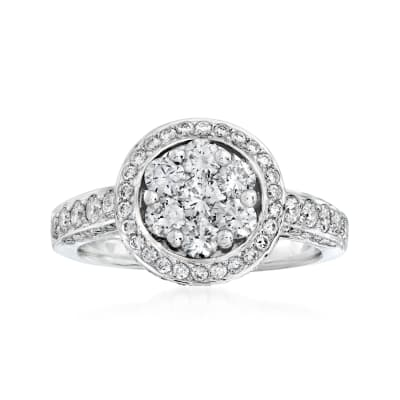 C. 2000 Vintage 1.85 ct. t.w. Diamond Cluster Ring in 18kt White Gold