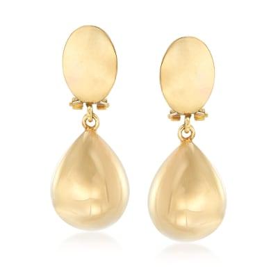 Italian 14kt Yellow Gold Teardrop Clip-On Earrings