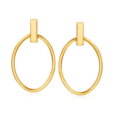 14kt Yellow Gold Open-Space Oval Drop Earrings