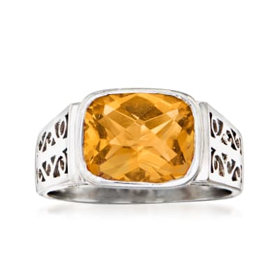 C. 1990 Vintage 3.70 ct. t.w. Citrine Ring in 14kt White Gold
