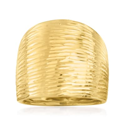 Italian 14kt Yellow Gold Striped Dome Ring
