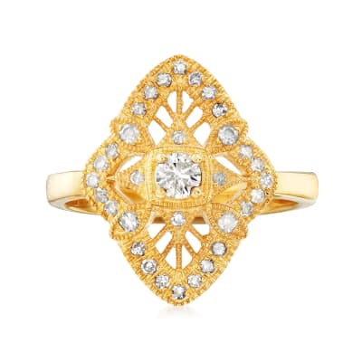 .49 ct. t.w. Diamond Openwork Ring in 18kt Gold Over Sterling