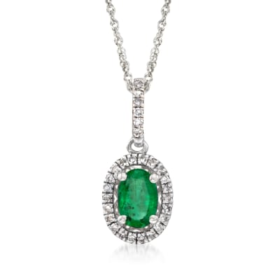 .40 Carat Emerald and .12 ct. t.w. Diamond Pendant Necklace in 14kt White Gold