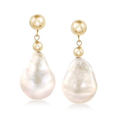 12-14 Cultured Baroque Pearl Drop Earrings in 14kt Yellow Gold