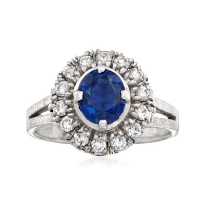 1970 Vintage .85 Carat Sapphire and .42 ct. t.w. Diamond Ring in Platinum