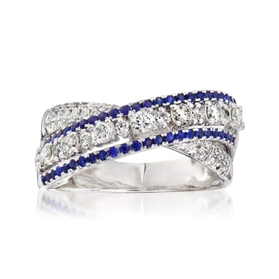 C. 1990 Vintage Piero Milano .88 ct. t.w. Diamond and .70 ct. t.w. Sapphire X Ring in 18kt White Gold