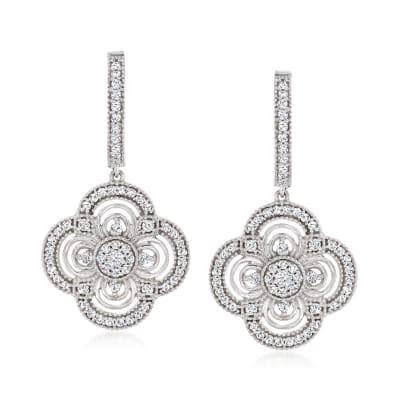 .63 ct. t.w. Diamond Cluster Flower Hoop Drop Earrings in Sterling Silver