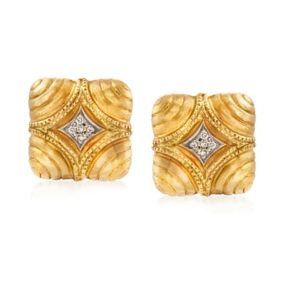 C. 1980 Vintage .20 ct. t.w. Diamond Shield Clip-On Earrings in 18kt Yellow Gold