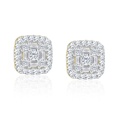 .32 ct. t.w. Baguette and Round Diamond Square Cluster Earrings in 14kt Yellow Gold