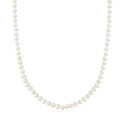 4-4.5mm Cultured Pearl Necklace in 14kt Yellow Gold