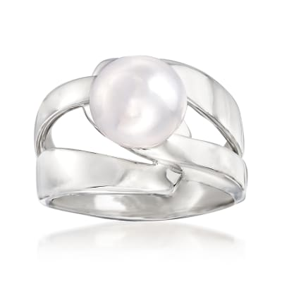 10mm Cultured Pearl Open-Space Ring in Sterling Silver