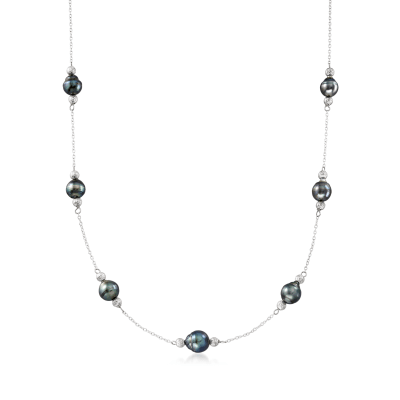 8-9mm Cultured Tahitian Pearl Station Necklace in Sterling Silver